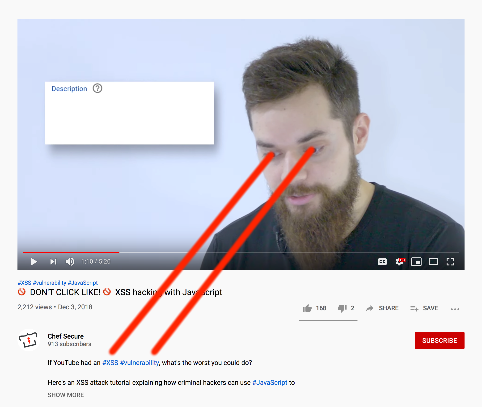 Hacker with laser focus on YouTube's description